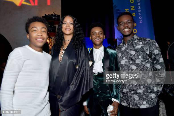 """Asante Blackk, Rihanna, Jahi Di'Allo Winston and Ethan Harris attend the after party for the Opening Night Gala premiere of """"Queen & Slim"""" at AFI..."""