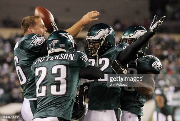 Asante Samuel of the Philadelphia Eagles celebrates his last minute interception that clinched their victory against the Indianapolis Colts with his...