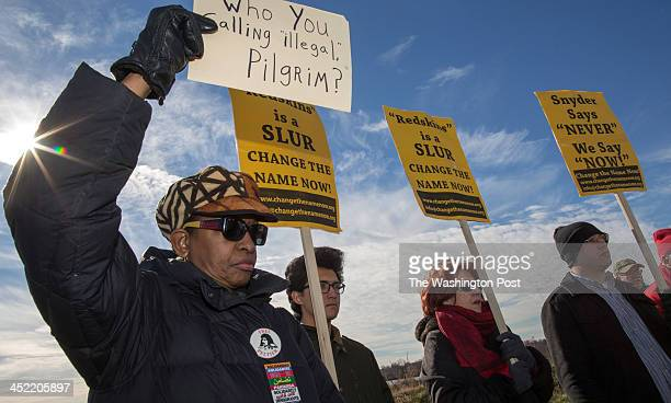 Asantewaa NkrumahTure Mike Wang Melba Conway and Jon Miller protest the name of the Washington Redskins in the shadow of FedEx Field along with...