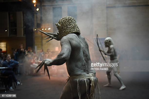 Asaro Mud Men from the Asaro Valley in Papua New Guinea's eastern highlands perform for the first time outside their home their rituals for visitors...