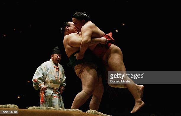 Asasekiryu of Japan throws his opponent out of the ring during the Grand Sumo Championship on October 7 2005 at Mandalay Bay Events Center in Las...