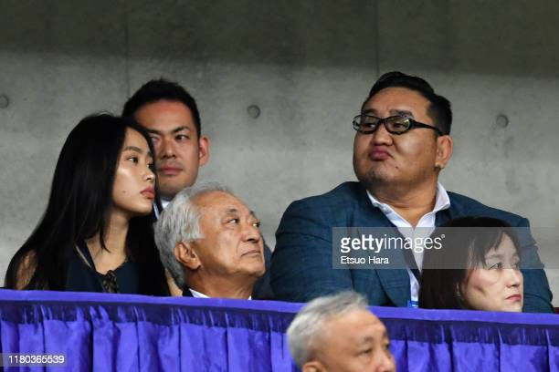 Asashoryu looks on prior to the FIFA World Cup Asian Qualifier second round match between Japan and Mongolia at Saitama Stadium on October 10, 2019...