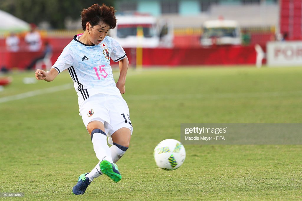 Asato Miyagawa #15 of Japan crosses the ball during their Group B match in the FIFA U-20 Women's World Cup Papua New Guinea against Canada on November 20, 2016 at National Football Stadium in Port Moresby, Papua New Guinea.