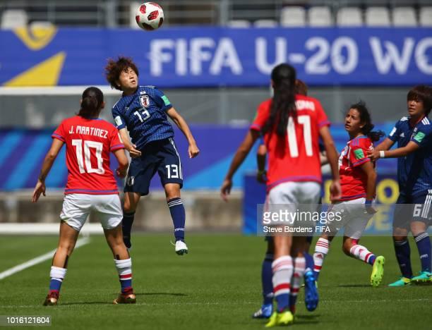 Asato Miyagawa of Japan wins a header during the FIFA U20 Women's World Cup France 2018 group C match between Japan and Paraguay at Stade de la...