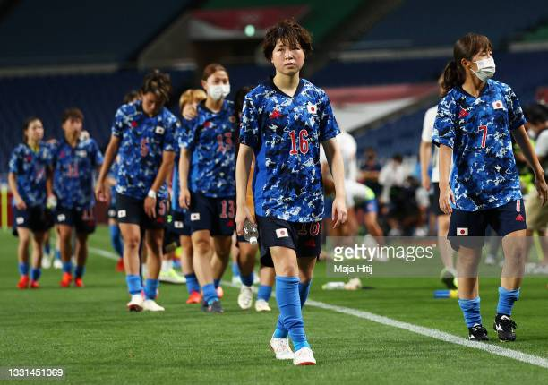 Asato Miyagawa of Team Japan looks dejected following defeat in the Women's Quarter Final match between Sweden and Japan on day seven of the Tokyo...