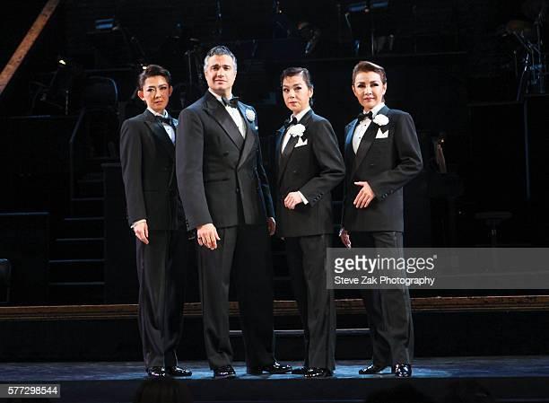 Asato Shizuki Jaime Camil Saori Mine and Saki Asaji attend the Lincoln Center Festival's 'Takarazuka Chicago' meets broadway cast of 'Chicago at...
