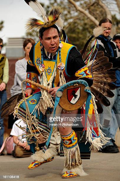 Asay No Braid a Lakota performs a tradtional dance for a large crowd outside of the Buffalo Bill Museum near Golden The Buffalo Bill Museum today...
