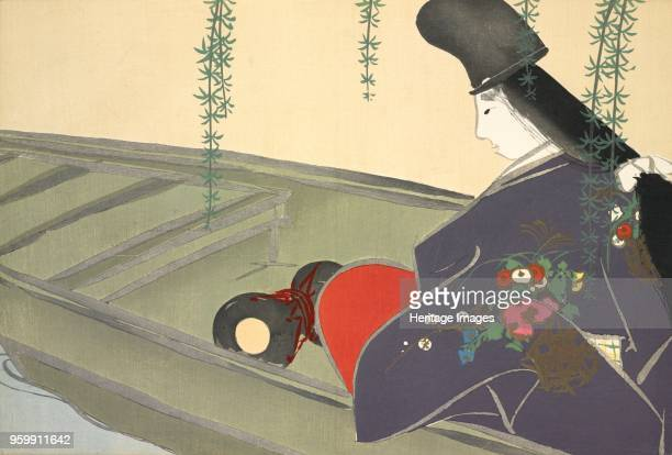 Asazumabune fromMomoyogusa The World of Things Vol II pub1909 colour block woodcut A Nobleman on a Boat