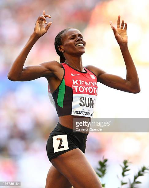 Asbel Kiprop of Kenya celebrates winning gold in the Men's 1500 metres final during Day Nine of the 14th IAAF World Athletics Championships Moscow...