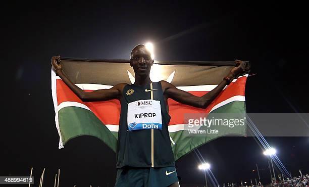 Asbel Kiprop of Kenya celebrates winning the 1500m during the 2014 Doha IAAF Diamond League at Qatar Sports Club on May 9, 2014 in Doha, Qatar.