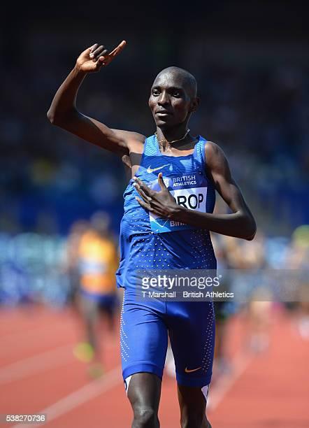 Asbel Kiprop of Kenya celebrates winning the Men's 1500m during the Birmingham Diamond League at Alexander Stadium on June 5, 2016 in Birmingham,...