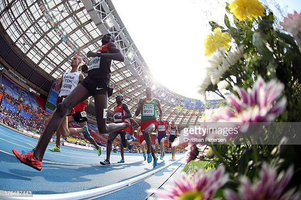 Asbel Kiprop of Kenya competes in the Men's 1500 metres heats during Day Five of the 14th IAAF World Athletics Championships Moscow 2013 at Luzhniki...
