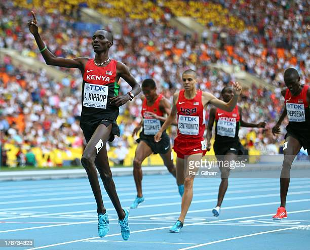 Asbel Kiprop of Kenya crosses the line to win gold in the Men's 1500 metres final during Day Nine of the 14th IAAF World Athletics Championships...