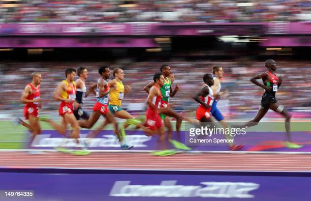 Asbel Kiprop of Kenya leads the pack in the Men's 1500m Round 1 Heats on Day 7 of the London 2012 Olympic Games at Olympic Stadium on August 3, 2012...