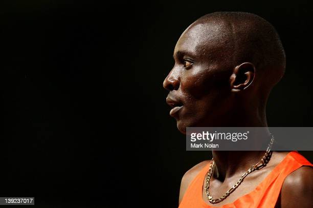 Asbel Kiprop of Kenya looks on after winning the mens 800 meters during the Sydney track Classic at Sydney Olympic Park Athletic Centre on February...