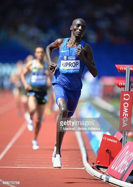Asbel Kiprop of Kenya runs in the Men's 1500m during the Birmingham Diamond League at Alexander Stadium on June 5, 2016 in Birmingham, England.