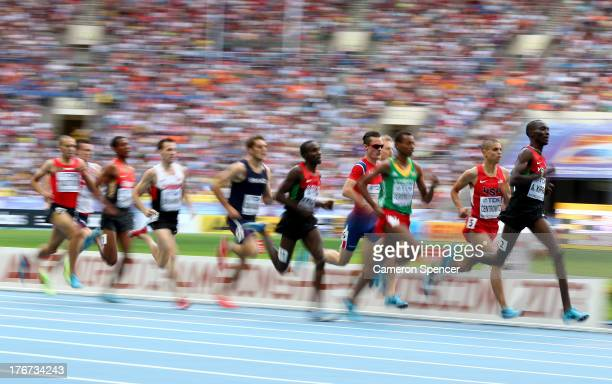 Asbel Kiprop of Kenya sprints to line ahead of Matthew Centrowitz of the United States to win gold in the Men's 1500 metres final during Day Nine of...