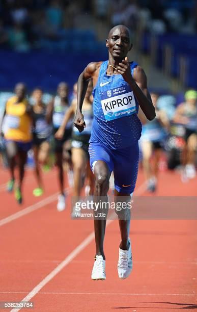 Asbel Kiprop of Kenya wins theMen's 1500m during the Birmingham Diamond League meet at Alexander Stadium on June 5, 2016 in Birmingham, England.