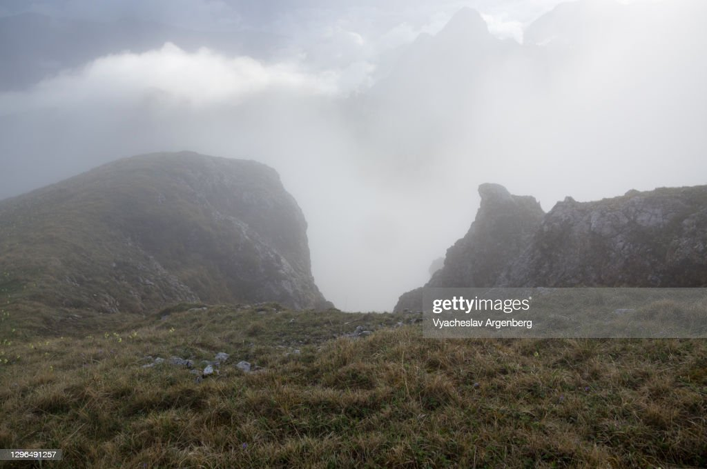 Asbestnaya Mount in heavy fog and clouds, Adygea, Caucasus : Stock Photo