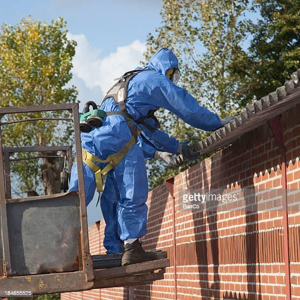 Asbestos removal in progress, remediation