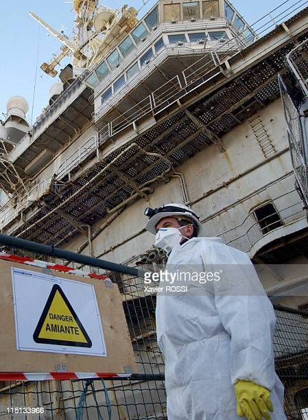"Asbestos removal of the aircraft carrier disarmed ""Clemenceau"" in Toulon France on November 19 2004"