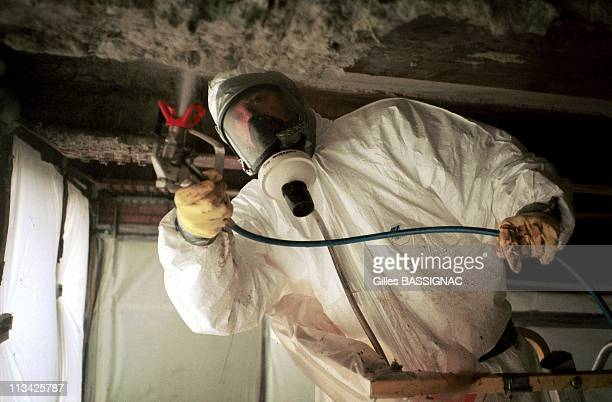 Asbestos Removal Of The Jussieu University On March 25th 1999 In ParisFrance A Foam Sprayed Before Removal