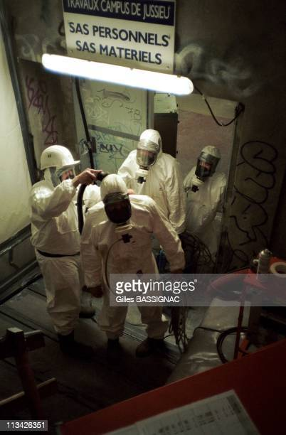 Asbestos Removal Of The Jussieu University On March 25th 1999 In ParisFrance Personel Is Carefully Dusted Before Removal