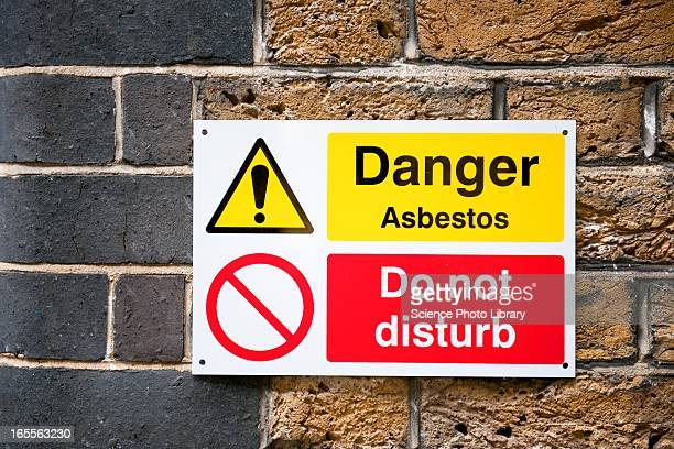 asbestos warning sign - asbestos stock pictures, royalty-free photos & images