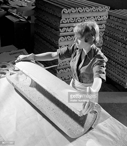 Asbestos was a near perfect material durable inert but most of all fireproof Asbestos is here mixed with cement to make Evrite type pipes Post war...