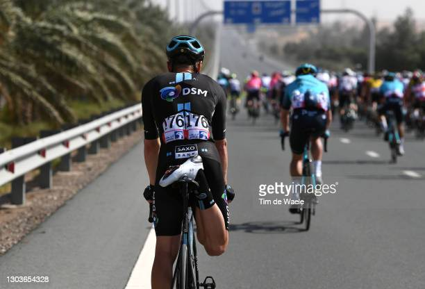 Asbjorn Kragh Andersen of Denmark and Team DSM stretching during the 3rd UAE Tour 2021, Stage 3 a 166km stage from Al Ain - Strata Manufacturing to...