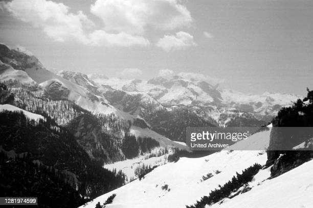 Ascending Jenner mountain via ropeway, View of Steinernes Meer plateau and Schoenfeldspitze, 1957.
