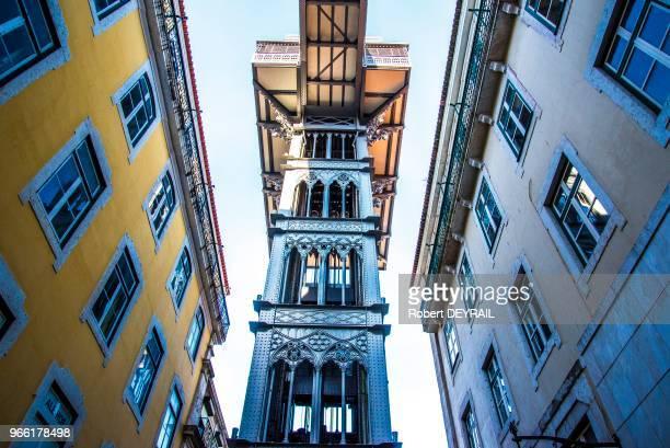 L'ascenseur de Santa Justa seul ascenseur urbain classé monument historique 28 mars 2017 Lisbonne Portugal
