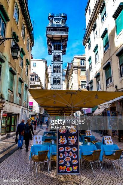 L'ascenseur de Santa Justa seul ascenseur urbain classé monument historique 29 mars 2017 Lisbonne Portugal