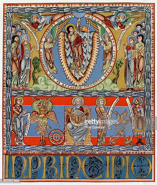 Ascension c1155 Beginning of St John's Gospel The Ascension and below St John enthroned between two visionary events of the Old Testament and figures...