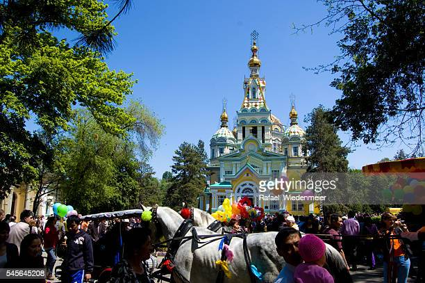 Ascension Cathedral in Almaty on 9th of May