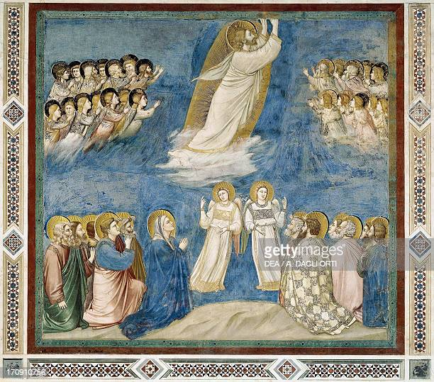 Ascension of Christ by Giotto detail from the cycle of frescoes Life and Passion of Christ 13031305 after the restoration in 2002 Scrovegni Chapel...