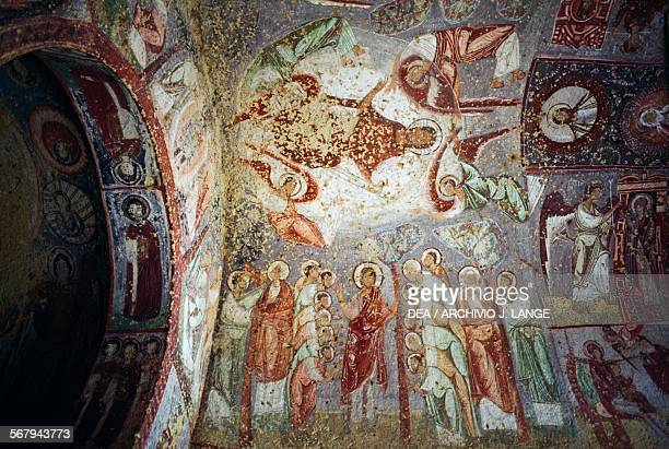 Ascension of Jesus and the Mission of the Apostles 965969 vault frescoes in Cavusin Kilise or Nicephorus Phocas Church Goreme Cappadocia Central...