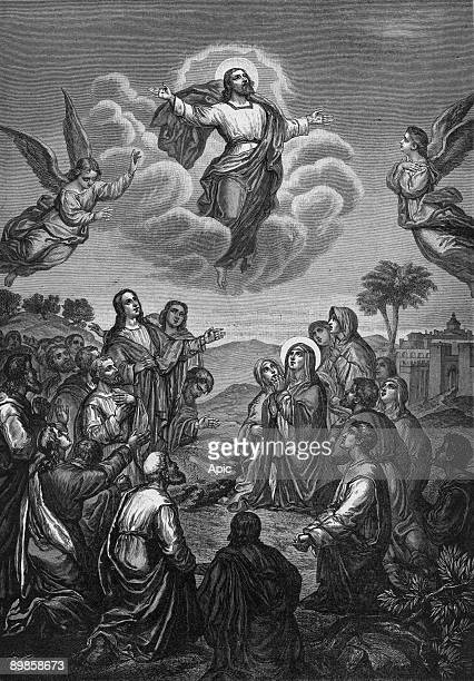 Ascension of Jesus Christ in the Mount of Olives in Jerusalem engraving 1908