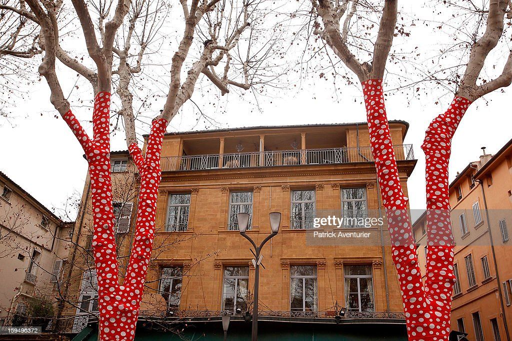 'Ascension of Polka dots on trees' by the Japanese artist Yayoi Kusama are seen during the contempory art exhibition for Marseille-Provence 2013 European Capital of Culture on January 13, 2013 in Aix-en-Provence, France.