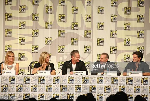 DIEGO 'Ascension Press Room/Panel' Pictured Tricia Helfer Andrea Roth Brian Van Holt Al Sapienza and Executive Producer Philip Levens