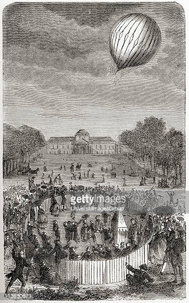 Ascent of Charles balloon over the Champ de Mars Paris France August 27 1783 Jacques Alexandre Cesar Charles 1746 1823 French chemist physicist and...
