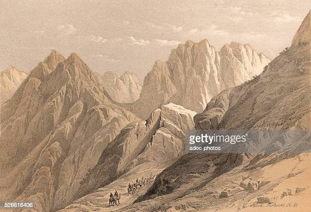 Ascent of the lower range of Sinai . Ca. 1845. Lithography by David Roberts.