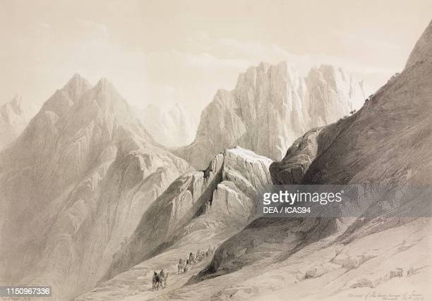 Ascent to Mount Sinai, Egypt, engraving from The Holy Land, Syria, Idumea, Arabia, Egypt and Nubia, Volume III, lithographs by Louis Haghe from...