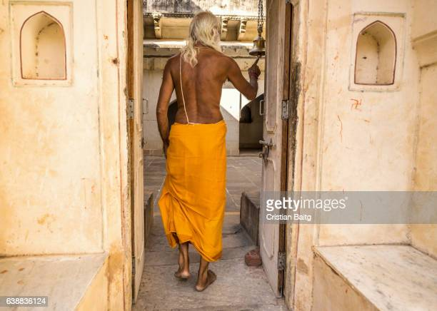 Ascetic entering Galtaji temple Rajasthan India