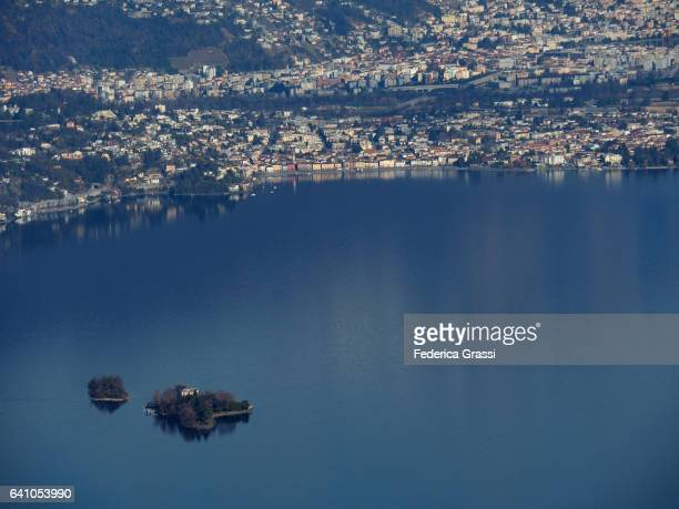 ascona and the brissago islands from the top of monte giove - ascona stock photos and pictures