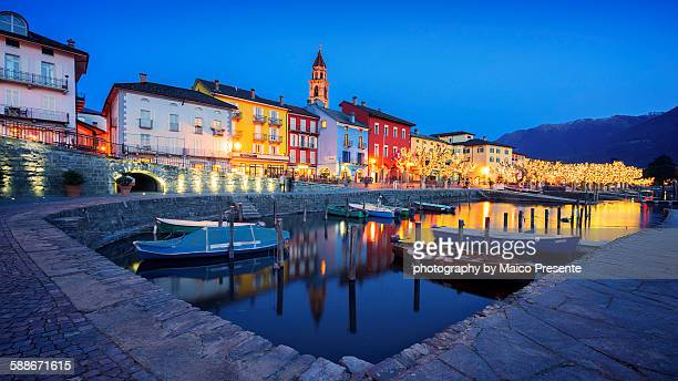 ascona at night - ascona stock photos and pictures