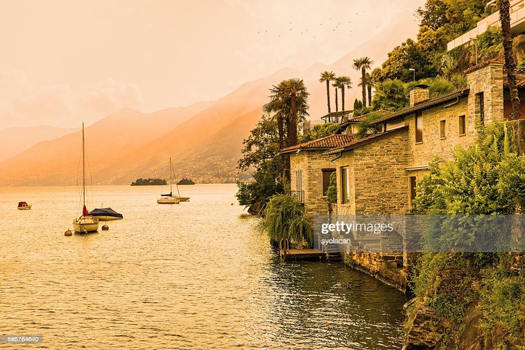 Ascona, Lake Maggiore at sunset : Stock Photo