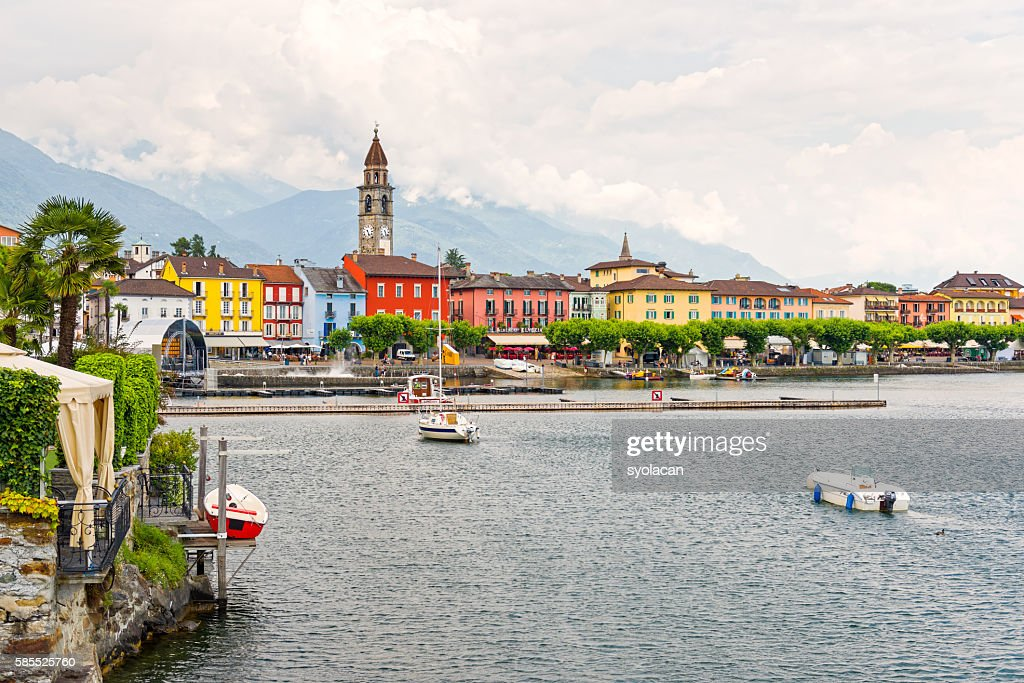 Ascona, town hall with houses and clock tower : Stock Photo