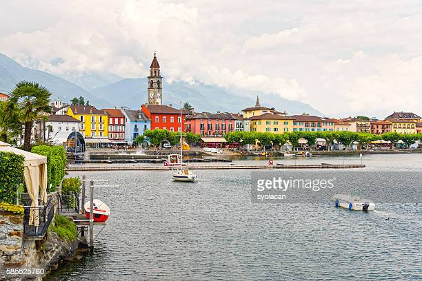 ascona, town hall with houses and clock tower - syolacan foto e immagini stock