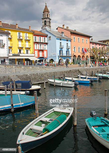 ascona with approaching thunderstorm - ascona stock pictures, royalty-free photos & images